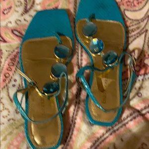 Enzo angiolini flat sandals with rinestone